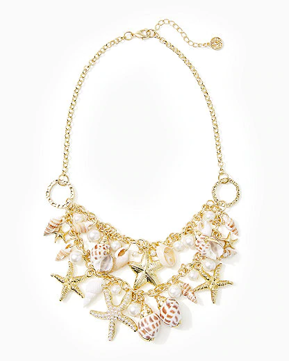 Lilly Pulitzer Shell Search Necklace In Gold Metallic