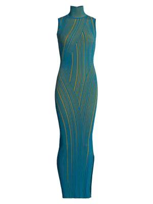 Herve Leger Rib-knit Sleeveless Turtleneck Column Dress In Tidal Wave