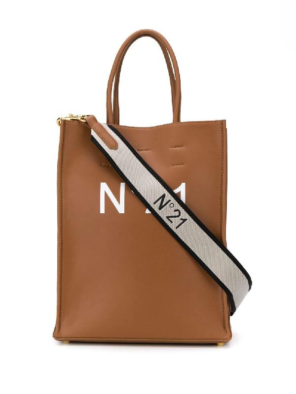 N°21 Small Logo Print Tote Bag In Brown
