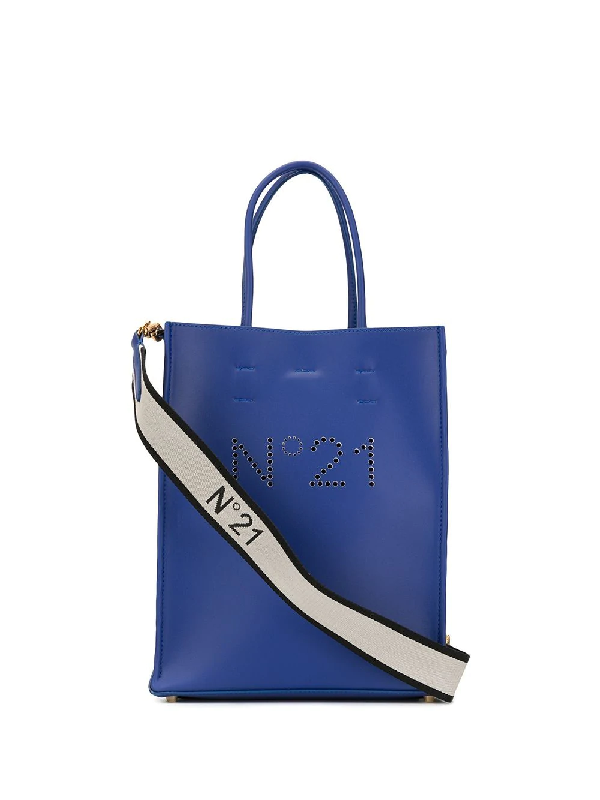 N°21 Perforated Logo Tote In Blue