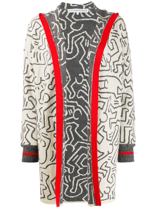 Jc De Castelbajac X Keith Haring 2000s Body Print Cardigan In Grey