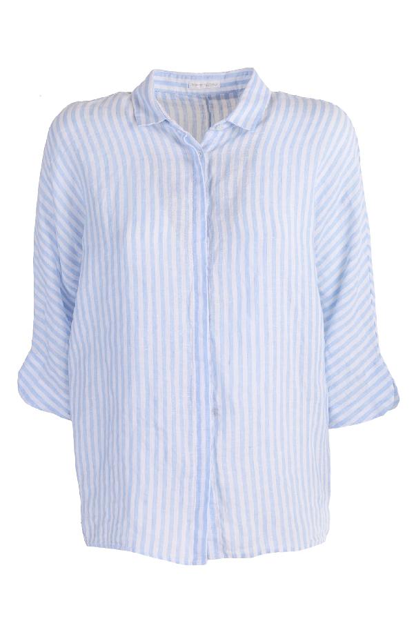 Robert Friedman Striped Linen Shirt In Righe