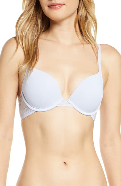 On Gossamer Sleek Micro Lace Underwire Convertible Push-up Bra In Blue Ice