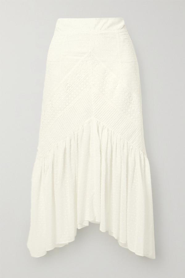 Lug Von Siga Carla Asymmetric Crochet-trimmed Swiss-dot Cotton Midi Skirt In White