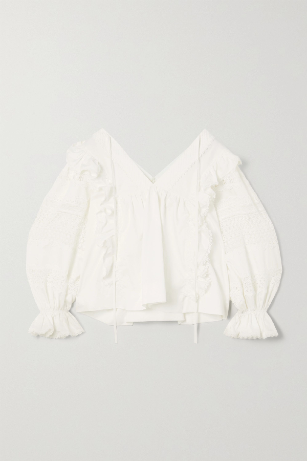 Lug Von Siga Carla Ruffled Crochet-trimmed Cotton Blouse In White