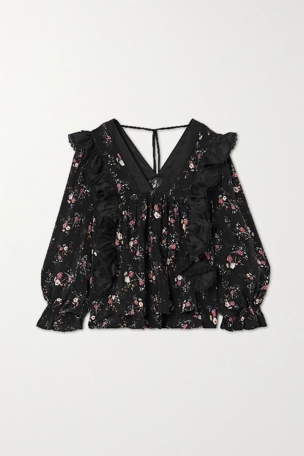 Lug Von Siga Maria Ruffled Satin And Floral-print Cupro Blouse In Black