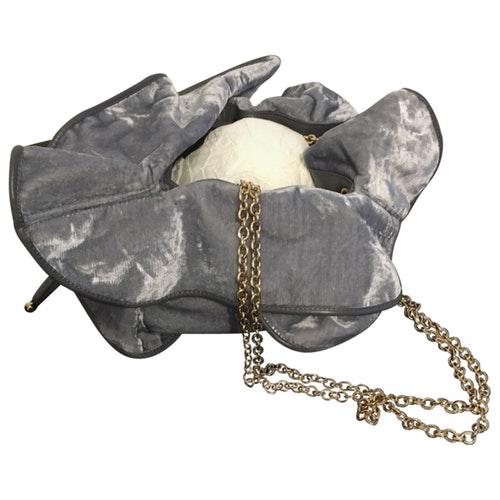 Nina Ricci Grey Velvet Handbag