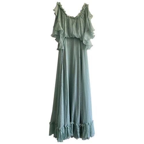 Luisa Beccaria Turquoise Silk Dress