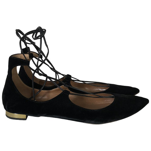 Aquazzura Christy Black Velvet Ballet Flats