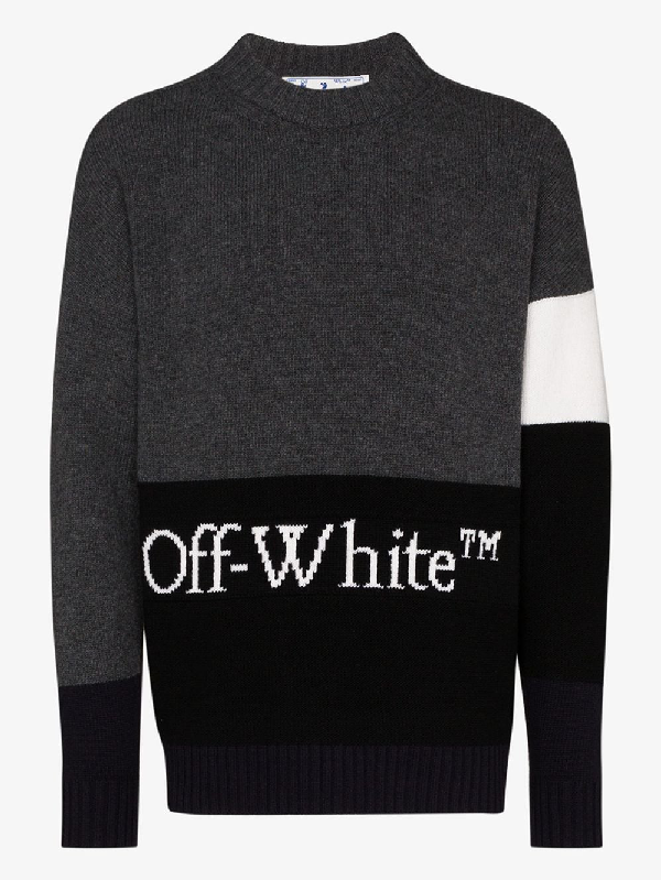 Off-white Color Block Pullover With Logo Embroidery In Grey