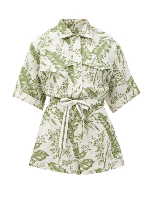 Zimmermann 'empire' Botanical Print Utility Playsuit In Ivory