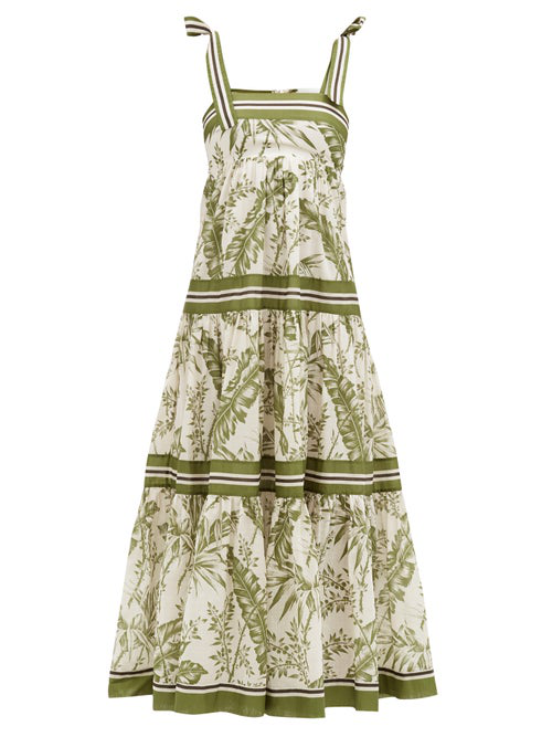 Zimmermann 'empire' Stripe Tie Shoulder Contrast Botanical Print Dress In White