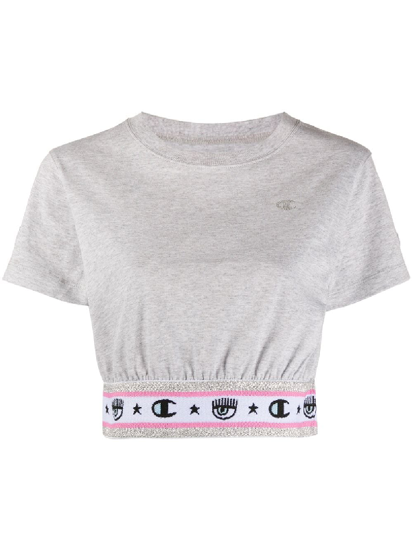 Chiara Ferragni X Champion Logomania Cropped T-shirt In Grey