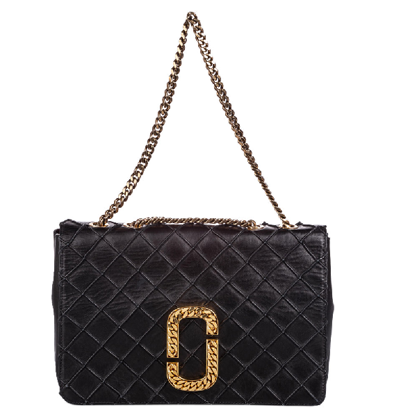Marc Jacobs Black Quilted Leather Double J Flap Bag