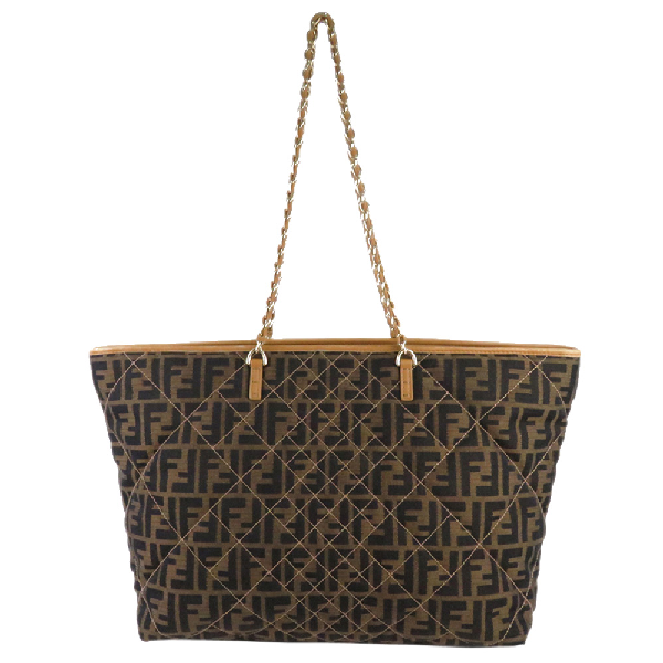 Fendi Brown Zucca Canvas Quilted Roll Tote Bag