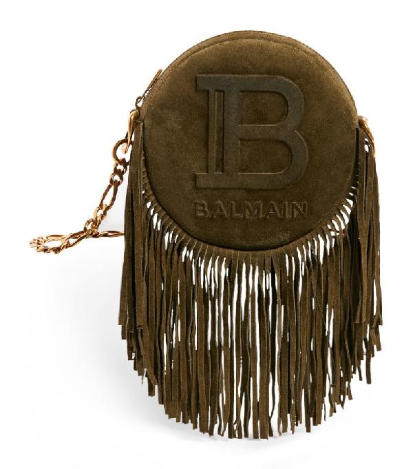 Balmain Suede Disco Fringe Chain Bag