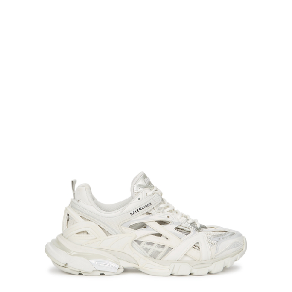 Balenciaga Shoes Track 2 White Panelled Mesh Sneakers Modesens