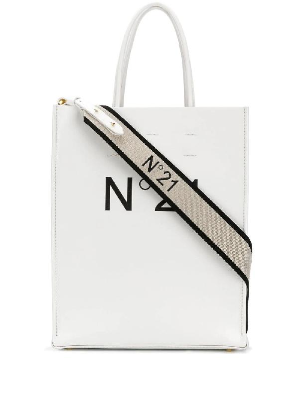 N°21 Logo Shopping Tote In White