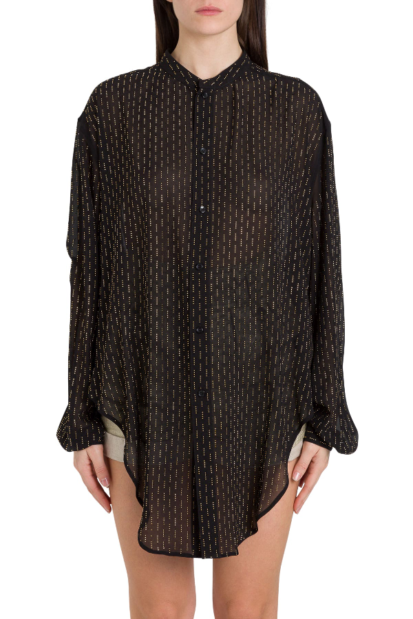 Saint Laurent Wide Shirt With Knotted Detail And Allover Studs In Nero