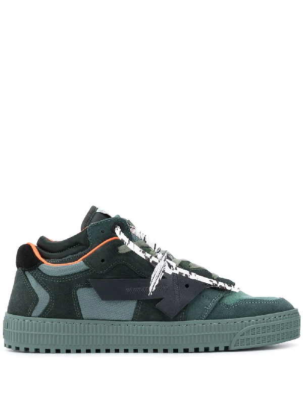 Off-white Off Court Suede And Fabric Sneakers In Green