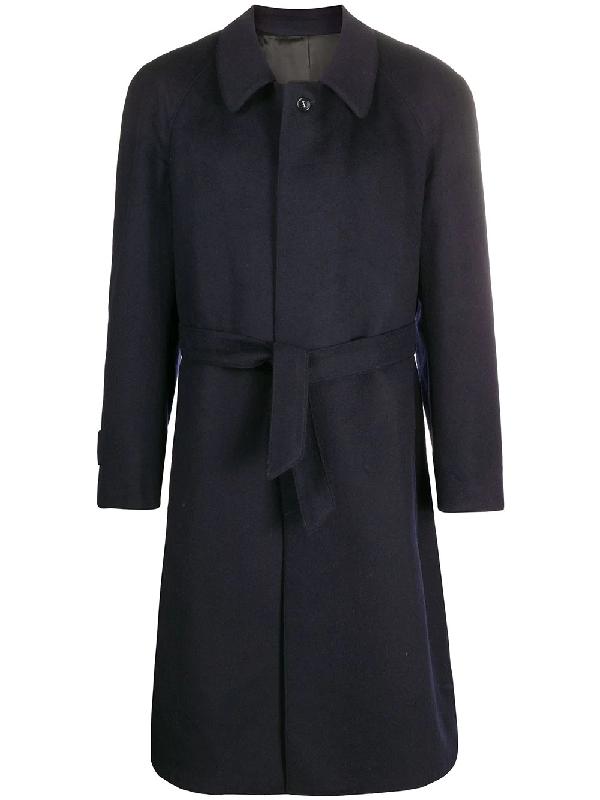 A.n.g.e.l.o. Vintage Cult 1990s Belted Coat In Blue