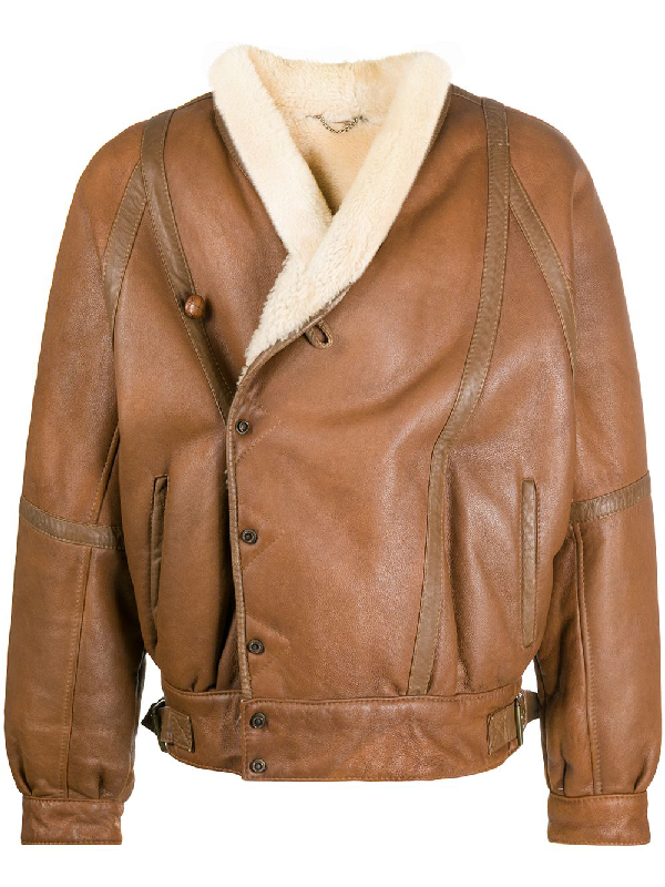 A.n.g.e.l.o. Vintage Cult 1980s Sheepskin Bomber Jacket In Brown