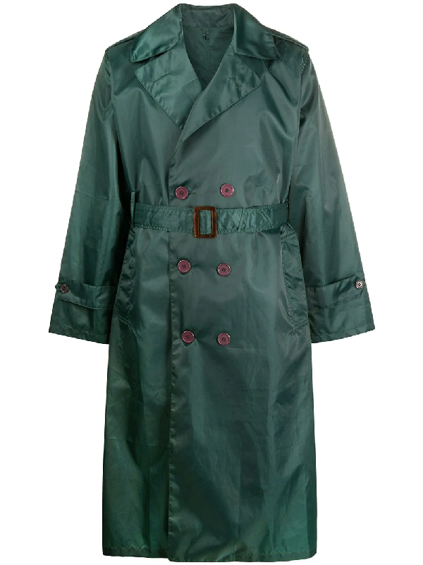 A.n.g.e.l.o. Vintage Cult 1970s Double Breasted Trench Coat In Green