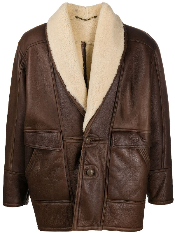 A.n.g.e.l.o. Vintage Cult 1980s Shawl Lapel Leather Coat In Brown