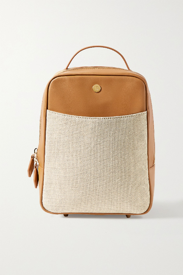 Paravel Mini City Leather And Cotton-canvas Backpack In Tan