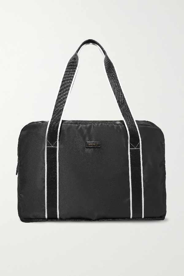 Paravel Fold-up Leather And Grosgrain-trimmed Shell Weekend Bag In Black