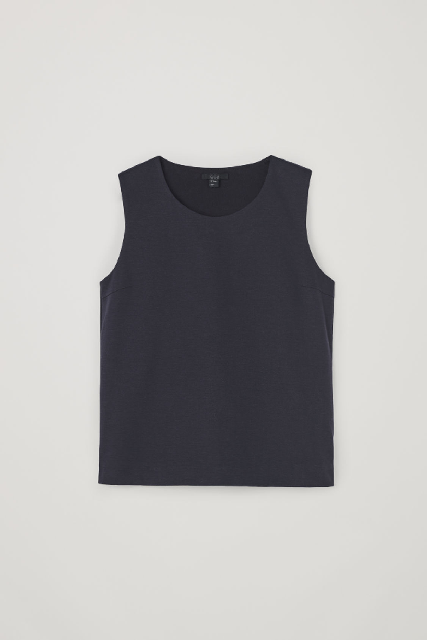 Cos Organic Cotton Seamless Vest Top In Blue