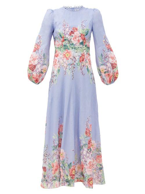Zimmermann Bellitude Floral-print Linen Maxi Dress In Blue