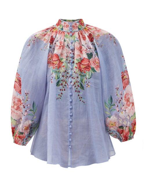 Zimmermann 'bellitude' Contrast Floral Print Stand Collar Blouson Sleeve Blouse In Light Blue