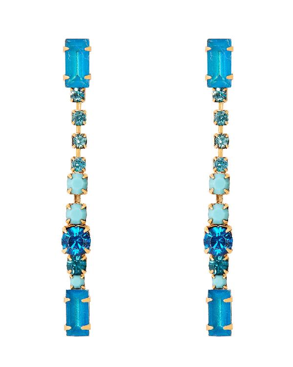 Elizabeth Cole Gracelyn Linear Drop Earrings In Blue-med
