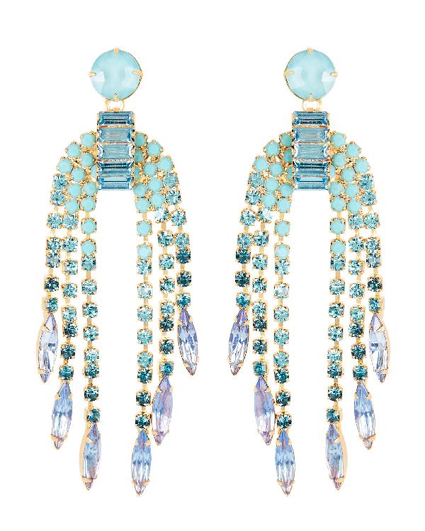 Elizabeth Cole Darla Crystal Fringe Earrings In Blue-med