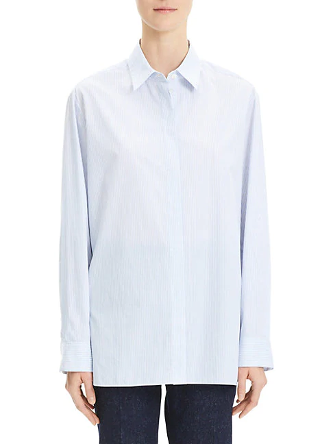 Theory Menswear-inspired Striped Cotton Shirt In White Multi