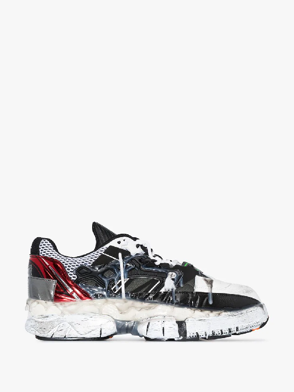 Maison Margiela Fusion Distressed Rubber-trimmed Leather Sneakers In Black