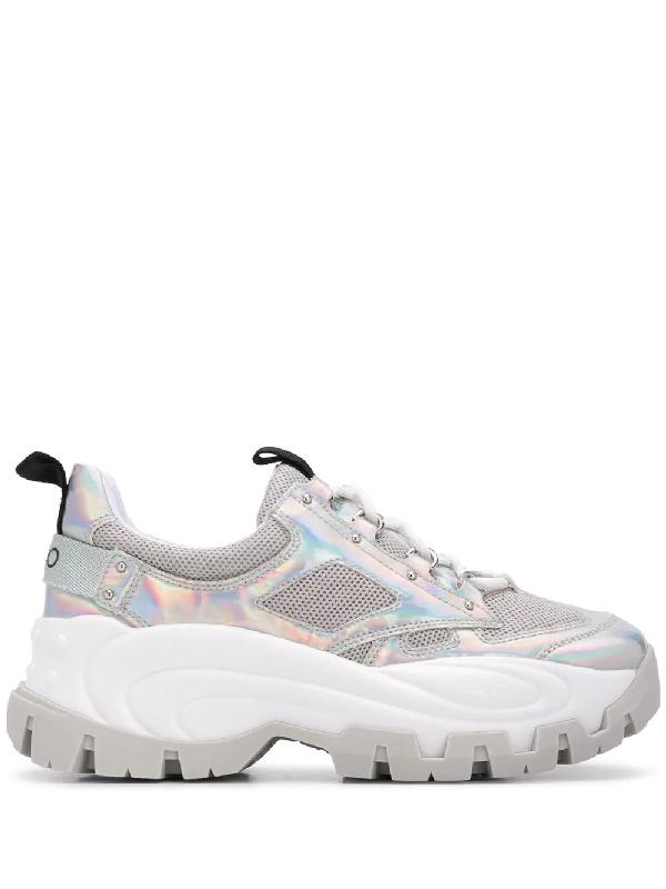 Liu •jo Platform Sole Sneakers In Silver