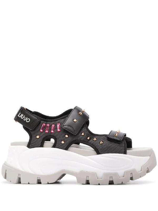 Liu •jo Studded Platform Sole Sandals In Black