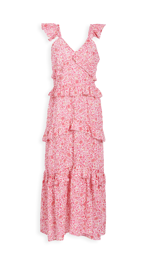 Misa Morrison Ruffled Floral Maxi Dress - Xs - Also In: L, M In Pink Animal Floral