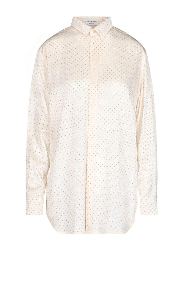 Saint Laurent Micro Studs Silk Shirt In White