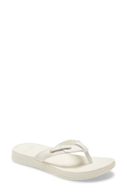 Sperry Adriatic Flip Flop In White Textile And Leather
