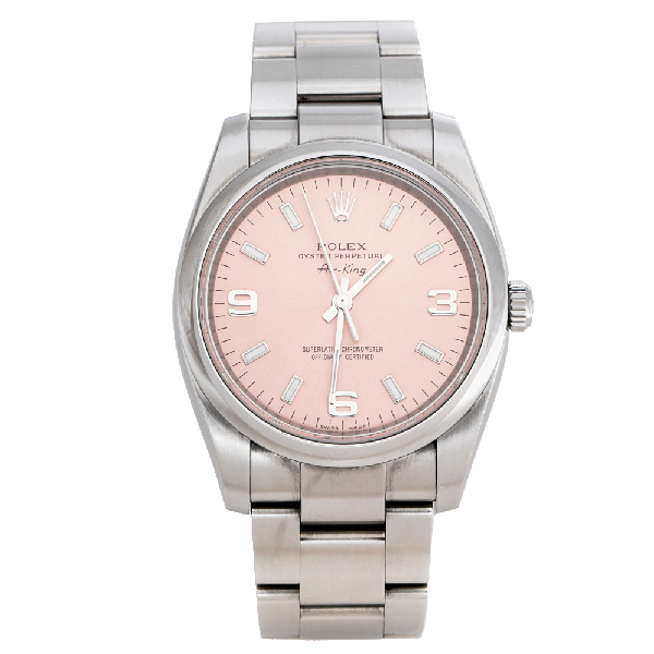 Rolex Pink Stainless Steel Oyster Perpetual Air-king 114200 Women's Wristwatch 34 Mm In Silver