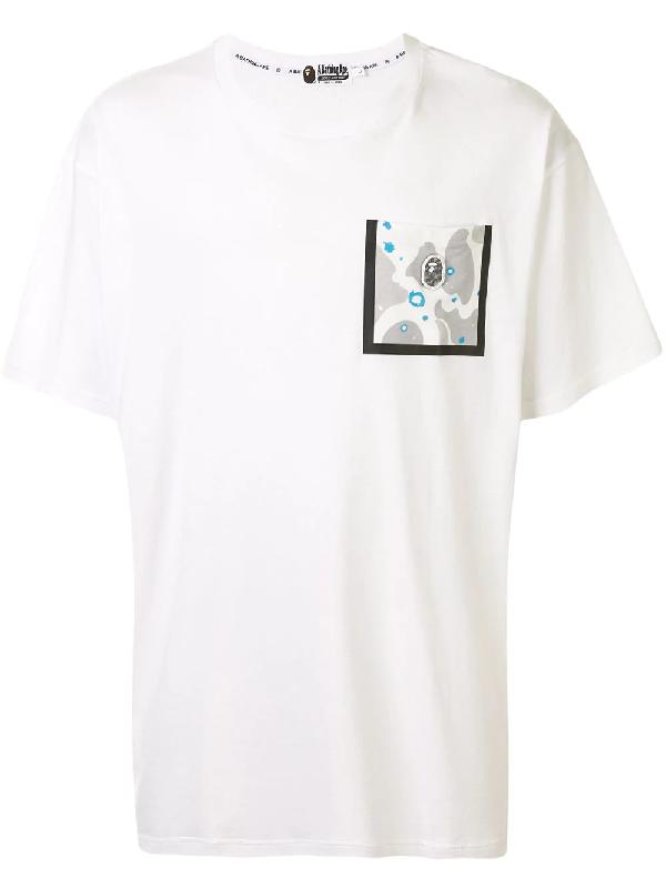Bape T-shirt Mit Logo-tasche In White