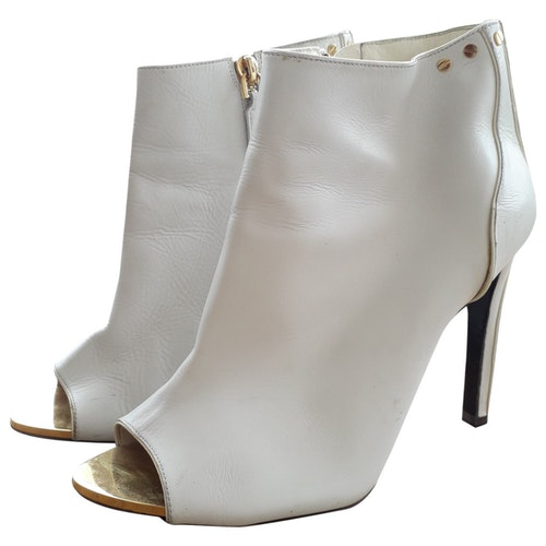 Tom Ford White Leather Ankle Boots