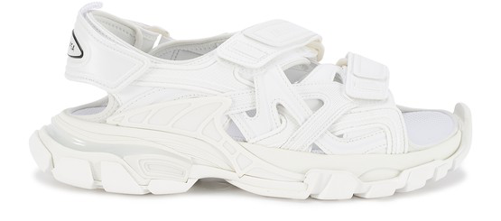 Balenciaga Track Logo-detailed Leather And Rubber Sandals In White