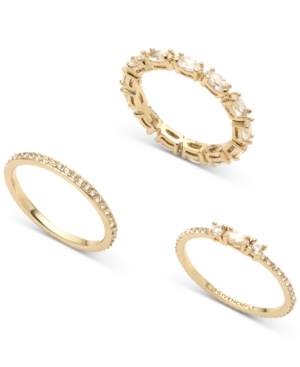 Givenchy Gold-tone 3-pc. Set Marquise Crystal Rings In Silver