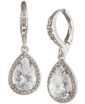 Givenchy Silver-tone Pave & Cubic Zirconia Pear-shape Drop Earrings