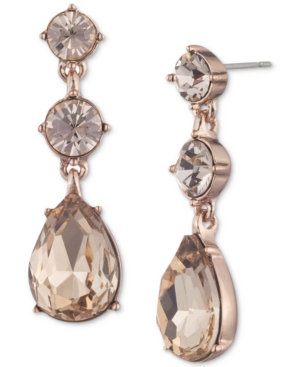 Givenchy Colored Crystal Double Drop Earrings In Rose Gold