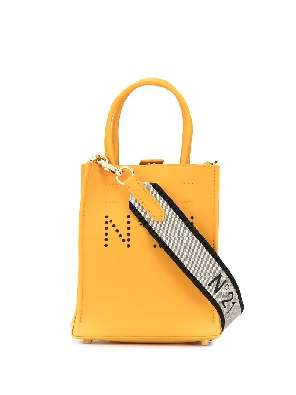 N°21 Perforated Logo Tote In Yellow